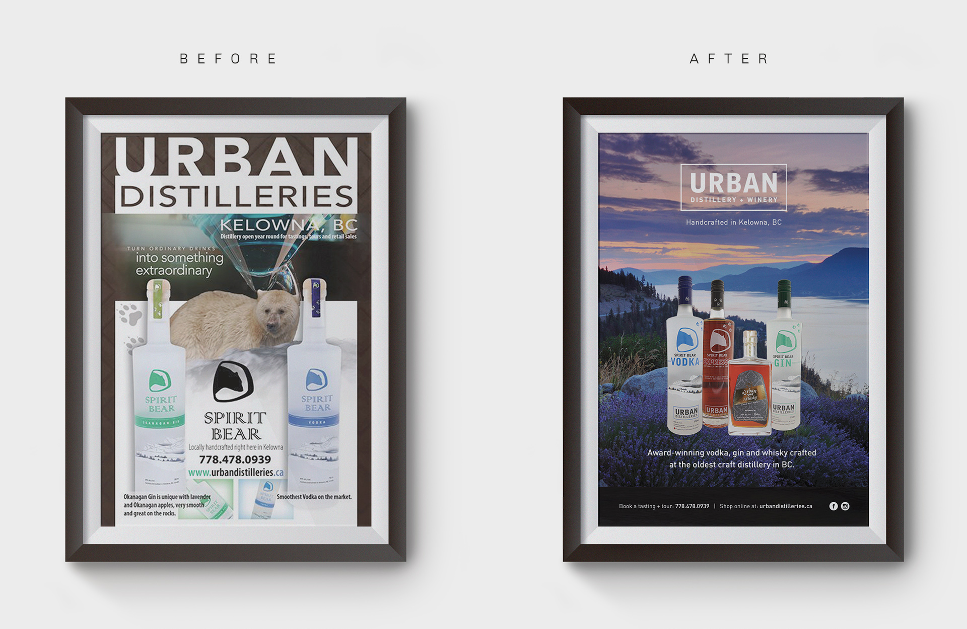 Urban Distilleries Graphic Design Brand Identity Posters Before & After